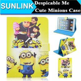 Wholesale Despicable Minion Inches - Despicable Me2 Cute Cartoon Character Minions Case Folio Stand PU Leather Wallet Cover Holster For Apple iPad 2 3 4 9.7 Inch
