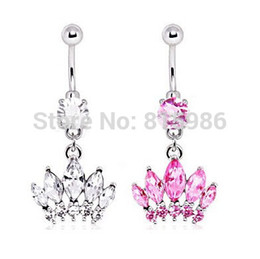 Wholesale Belly Ring Charms - 12PCS Mix 2 Colors Creative Style Crown Charm Rhinestone Body Piercing Jewelry Belly Button Ring Navel Jewelry