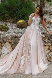 Wholesale Embroidered Plus Sized Wedding Dresses - blush long sleeved princes wedding dresses 2017 crystal design bridal v neck embellished lace embroidered romantic a line wedding gowns