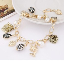 Wholesale Camera Charms Jewelry - Multi Pendant Bracelet Metal Gold Chain Camera Droplet Love Pearl Beads Heart Bracelet For Women Pulseira Fashion Jewelry PT36