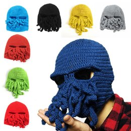 Wholesale Top Handmade Beanies - 2015 Novelty Handmade Knitting Wool Funny Beard Caps Winter Octopus Hats&caps Christmas Party Crocheted beanies unisex