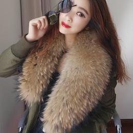 Wholesale Real Fur Suits - Large Real Raccoon fur collar women's bomber jacket flight suit cotton short Slim coat new arrival 2018