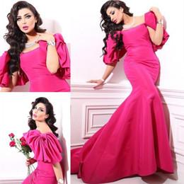 Wholesale Royal Blue Large Size Dresses - Hot Pink Mermaid Dubai Evening Dress 2016 Sexy Off Shoulder Plus Size Saudi Arabic Prom Dresses Long Satin Large Bow Party Pageant Gowns