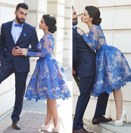 Wholesale Ivory Feather Bridesmaid Dresses - Short 2018 Lace Bridesmaid Dresses A Line Long Sleeves Formal Party Gowns Crew Neck Zip Back Knee Length Lace Cheap Prom Dresses Gowns