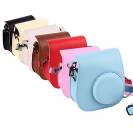 Wholesale Vintage Camera Cases - Lovely Leather Camera Shoulder Strap Bag for Polaroid Colorful Case Pouch For Fujifilm Instax Mini 8 Vintage 7 Colors