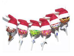Wholesale red mini top hats - 2017 New Mini Cute Santa Claus Hat Christmas Xmas Holiday Lollipop Top Topper Decor Hot 6pcs lot