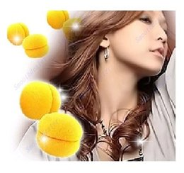Wholesale Magic Hair Sponge Ball - ! 6pcs   lot magic beauty yellow soft sponge hair care foam balls hair curler rollers