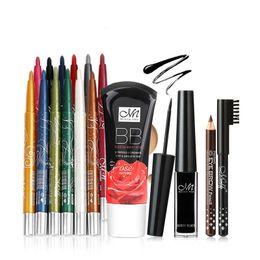 Wholesale White Cream Eyeliner - MENOW Essential Colorful Makeup Set Eyeshadow Pencils Eyeliner Eyebrow Pencil and BB Cream Professional Make up Kit