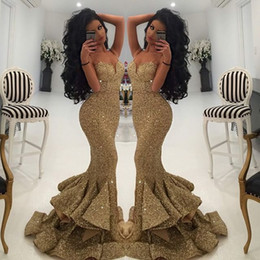 Wholesale Designers Long Dress Evening - New Designer Mermaid Gold Evening Gowns 2016 Lace Appliques Open Back Sequin Prom Dresses Pageant Gowns