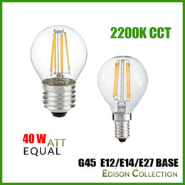 Wholesale G45 Lamp - 2200K CCT Dimmable 2W 4W G45 Filament Bulb,E12 E14 E27 Lamp Base