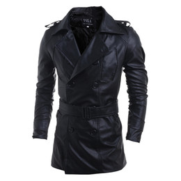 Wholesale Trench Coats Leather Sleeves - New Rushed Fashion Motorcycle Outerwear Men PU Leather Jackets Water Wash Vintage Warm Winter Military Mens Trench Coat