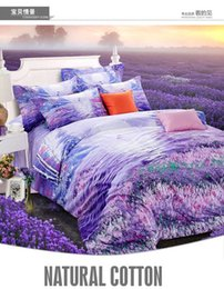 Wholesale Romantic Queen Size Bedding - Purple bedding set lavender king size queen quilt doona duvet cover designer bed in a bag sheet double romantic bedspread bedsheet cotton