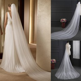 Wholesale 3m Accessories - White Ivory 3M Long Veil Soft Tulle Cheap Wedding Veils With Comb Two-layer Cut Edge Bridal Veils Head Wedding Accessories Free Shipping