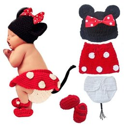 Wholesale Diaper Covers Cartoons - Retail Newborn Baby Girls Polka Dot Bow Hat + Knitted Skirt + Diaper Cover + Shoes Minnie Mouse Crochet Costume Outfit Set Photo Props 0-12M