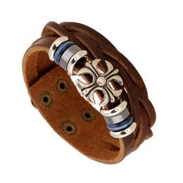 Wholesale Ceramic European Decorative Plates - Brown Wide Leather Bracelets New Punk Cross Bracelets Retro Multilayer Rivet Decorative Alloy Snap Button Wristband Charms Bracelet