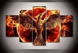 Wholesale Hunger Games Prints - 5 Panel Unframed Printed Hunger Games Group Painting Living Room Bedroom Decor Canvas Art Pictures Hot Sale
