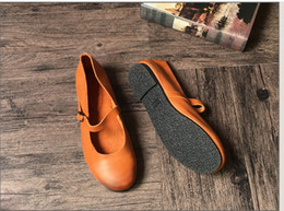 Wholesale Vintage Brown Shoes - wholesale drop shipping vintage genuine leather women round toe flats shoes buckle strap loafers size35-40