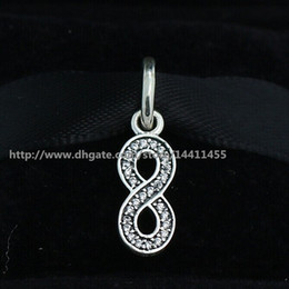 Wholesale Pink Cz Necklaces - 925 Sterling Silver Symbol of Infinity Dangle Pendant Charm Bead with CZ Fits European Pandora Jewelry Bracelets & Necklaces