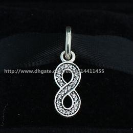 Wholesale Infinity Bracelet Sterling Silver - 925 Sterling Silver Symbol of Infinity Dangle Pendant Charm Bead with CZ Fits European Pandora Jewelry Bracelets & Necklaces