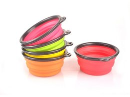Wholesale Take Bowl - 100pcs lot Free Shipping Pet Dog Cat Bowl Puppy Drinking Collapsible Easy Take Outside Feeding Water Feeder Travel Bowl Dish