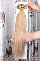 "Wholesale Nail Hair Remy - 18""-22"" Natural Straight Prebonded Keratin Fusion Indian Remy Nail U Tip Human Hair Extensions #27 Honey Blonde 100s,0.5g per Strand"