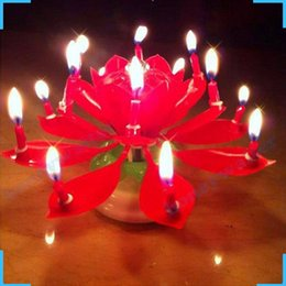 Wholesale Lotus Candle Cake - 3pcs Birthday Rotating Musical Lotus Flower Blossom Candle Cake Scented Candles Lamp Geburtstag Kerze Bougies Party Decor