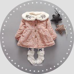 Wholesale Velvet Baby Princess Dress - Wholesale- Warm Winter Baby Infants Girls Kids Floral Print Cotton Velvet Thicken Princess girls dress Vestidos