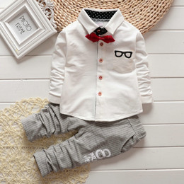 Wholesale Glass Bow Tie - 2016 Baby sets Boy Clothing Sets children Bow tie shirts glasses cartoon pants kids cotton cardigan two piece suit bc154 outfit