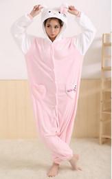 Wholesale Flannel Pajamas Movie - Plus Size hello kitty Cosplay Costume Conjoined Sleepwear Cartoon Kigurumi Pajama Flannel Pajamas Hooded Costumes Unisex Onesie Sleepwear