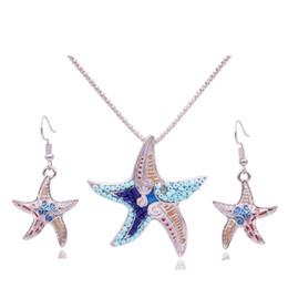 Deutschland Großhandel 5 Set für Frauen Seed Bead Sea Star Halskette Ohrring Vintage Ohrringe Staffelei Stand Halter Glas Geschenke Schmuck Versorgung