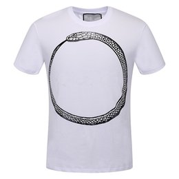 Wholesale Vacations Summer - New Fashion Brand T-shirt Designer Spring Summer Color Snake Sleeves Vacation Short Sleeve Tees 3colors Casual Tops