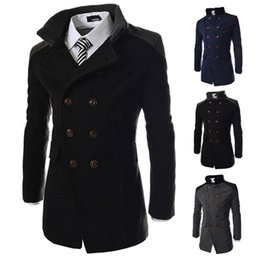 Wholesale Mens Black Trench - S5Q Mens Slim Lapel Woolen Trench Coat Warm Winter Long Bodycon Jacket Outerwear Overcoat AAAEBO