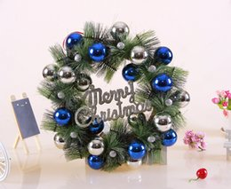 Wholesale Coned Stock - Christmas Pine cones 40cm wreath silver round pine ball Christmas decorations present DIY Party Christmas home decor high quality wholesale