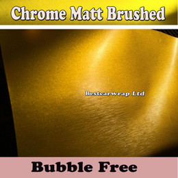 Wholesale Air Brushes - Gold  Yellow Brushed Metallic Chrome Steel Vinyl Wrap For Car Wrap Film With Air Bubble Free Car Sticker Metallic Wraps Size:1.52*20M Roll