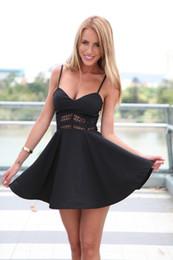 Wholesale Swing Back - Sleeveless sundresses V-neck lace stitching Slim lower back mini dress big swing