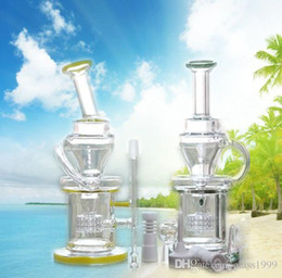 Recycleur mère-mère en Ligne-Factory Heady Green Yellow Mothership Glass Bongs Epaissir Recycler Oil Rigs 14.4mm Glass Bong Headshower Percolateurs Water Pipes Bongs Glass