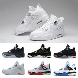 Wholesale 4s Pink - [With Box] 2017 High quality Air Retro 4 IV Basketball Shoes Sports Sneakers Men Retros 4s BLACK MOTORSPORT GAME ROYAL BLUE shoes 41-47