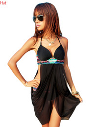 Wholesale Floral Chic - Hot 2016 Halter Swimwear Sexy One Piece Swimsuit Dress V-neck Bathing Suits Backless Beach Suit Women Chic Split Push Up Swim Dress SV002221