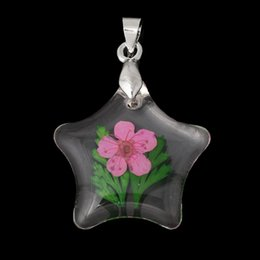 Wholesale Transparent Real Stars - Resin Charm Pendants Stars Transparent Made With Fuchsia Real Flower Pattern 3.2cm x 22.0mm,5 PCs 2015 new
