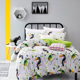 Wholesale Bird Bedding Sets - Wholesale-Flowers And Birds Bedding Set White And Green Bedsheet 100% Cotton Twill Duvet Cover Set Twin Queen Size Cheap
