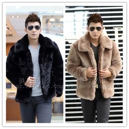 Wholesale rabbit fur coat men - Wholesale- New 2015 winter fashion men faux fur jacket Soft and comfortable warm rabbit fur Turn-down Collar solid color fur coat