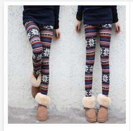 Wholesale Cashmere Tights Women - Lady Leggings Imitation Cashmere Women Clothes Hot Imitation cashmere Snowflakes Fawn Deer Tights Women Ninth Pants Fast shipping R1475