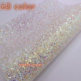 Wholesale Crystals Adhesives - Free ship Crystal resin rhinestone self Adhesive sheet or hotfix to fabric rhinestone decor mesh roll for wedding 24*40cm Strass Bling trim