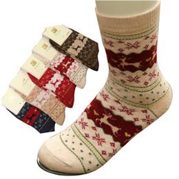 Wholesale Wool W - Wholesale-D&W(5Pairs lot)Women Winter Thicken Warm Wool Socks Brand Cute Cartoon Deer In Tube Warm Socks Ladies Meias Femininas
