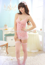 Wholesale Pink Heart Corset - w1029 sexy lingerie heart chemise nightown corset dress ,g string ,garter set sleepwear