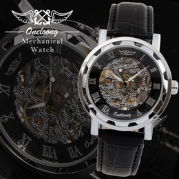 Wholesale Skeleton Manual Watch Men - Fashion Winner Skeleton Manual Wind Watch Oneloong Luxury Brand Leather Strap Men Fashion Watches Mechanical Hand Wind Military Watches