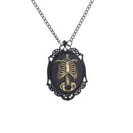 Wholesale Halloween Cameos - Anatomical Zombie Ribcage Cameo Necklace Day of the Dead Skeleton, Skeleton Necklace Jewelry, Domino Pendant Necklaces