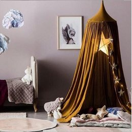 Wholesale Type Curtains - INS Kid Bed Crib Netting Canopy Bed Curtain Round Dome Hanging Mosquito Net Tent Curtain Moustiquaire Baby Playing Home Klamboe A7784