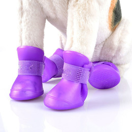 Wholesale Waterproof Dog Socks - Dog Shoes Waterproof Anti Slip Teddy Rain Boots Shoes Brand Pet Outdoor Apparel Shoes Accessories Rubber Pet Rain