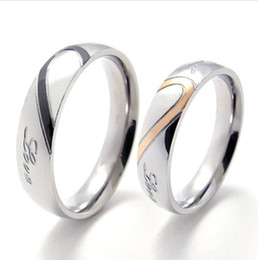 "Wholesale China Love Couples - Mens Womens Hearte Stainless Steel Promise Ring ""Real Love"" Couples Wedding Bands"